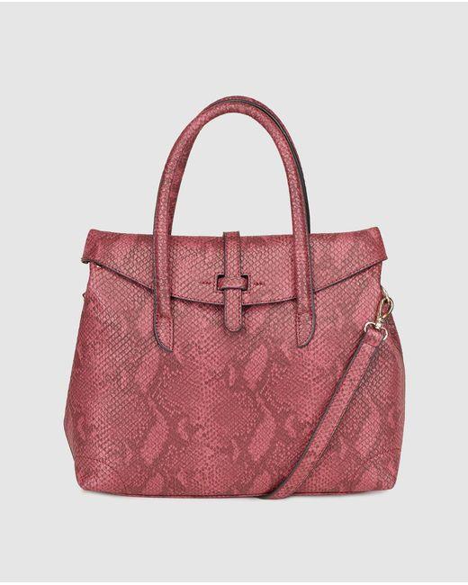 El Corte Inglés - Multicolor Large Burgundy Handbag With Snakeskin Effect - Lyst