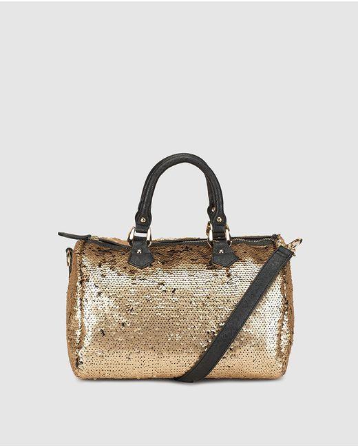 El Corte Inglés - Metallic Reversible Gold Bowling Bag With Sequins - Lyst