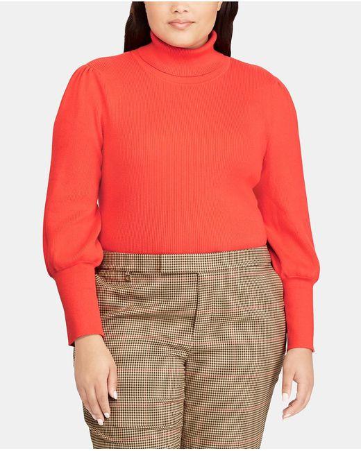 Denim & Supply Ralph Lauren - Orange Plus Size Sweater With A Polo Neck - Lyst