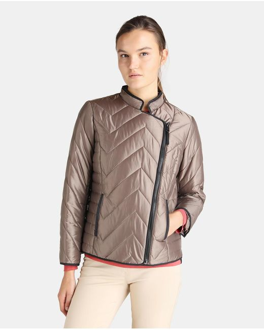 Zendra El Corte Inglés | El Corte Inglés Zendra Taupe Brown Quilted Jacket | Lyst