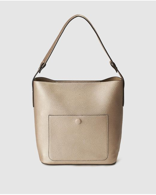 El Corte Inglés - Metallic Big Gold Hobo Bag With Zip - Lyst