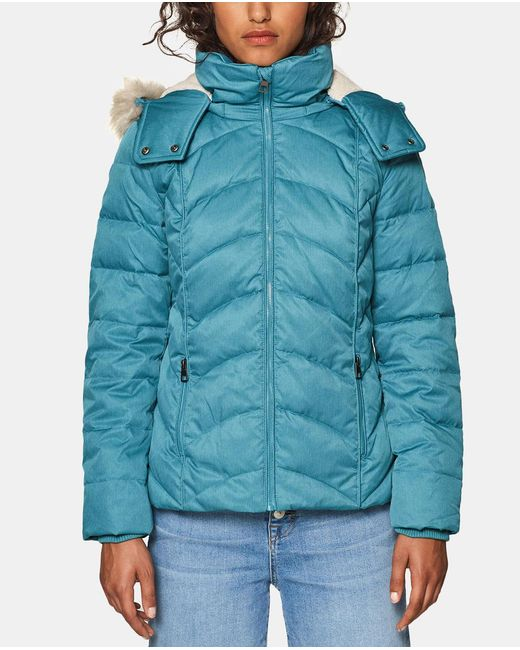 Esprit - Blue Quilted Coat With A Fur-trimmed Hood - Lyst