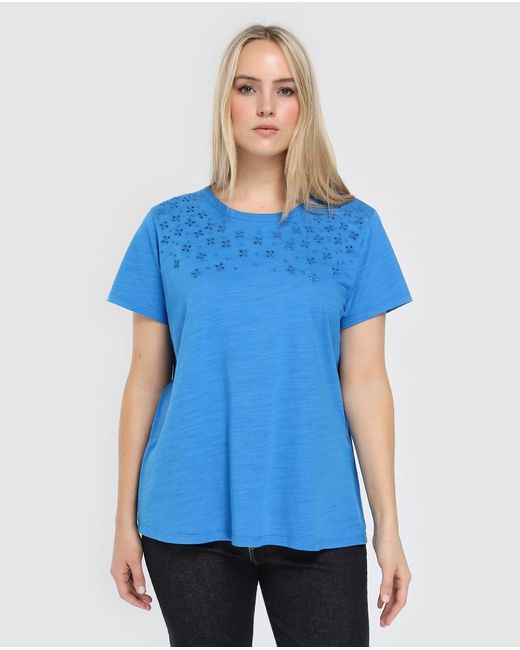 Denim & Supply Ralph Lauren - Blue Lauren Woman Plus Size Short Sleeved T-shirt With Openwork Flowers - Lyst