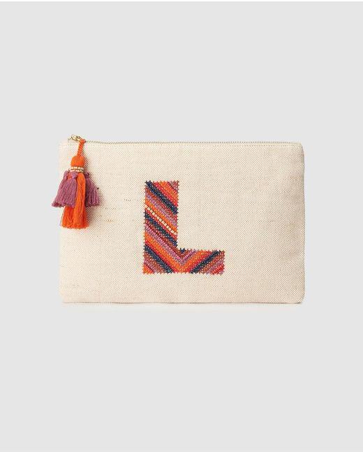 El Corte Inglés Orange Beige Pouch With Embroidered L