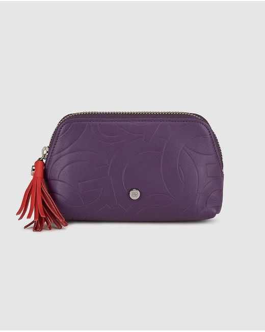 Gloria Ortiz - Sofía Stamp Purple Embossed Leather Toiletry Bag With A Zip Closure - Lyst