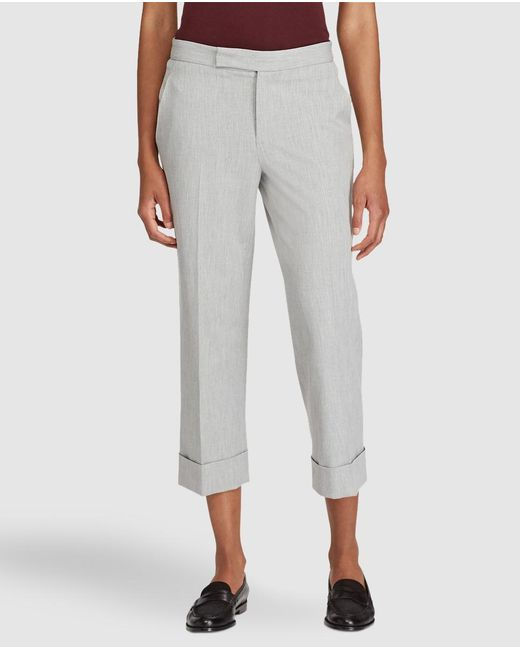 Lauren by Ralph Lauren | Gray Cropped Trousers With Turn-up Hem | Lyst