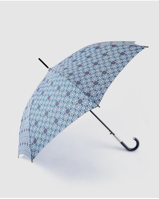 Caminatta - Long Umbrella With Navy Blue Geometric Print - Lyst