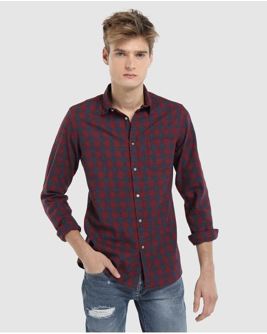 GREEN COAST - Red Checked Slim-fit Shirt for Men - Lyst