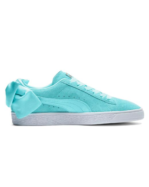 PUMA - Blue Suede Bow Casual Trainers - Lyst