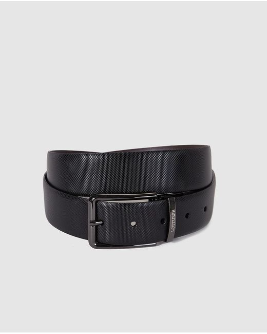 lottusse mens reversible black and brown leather belt in