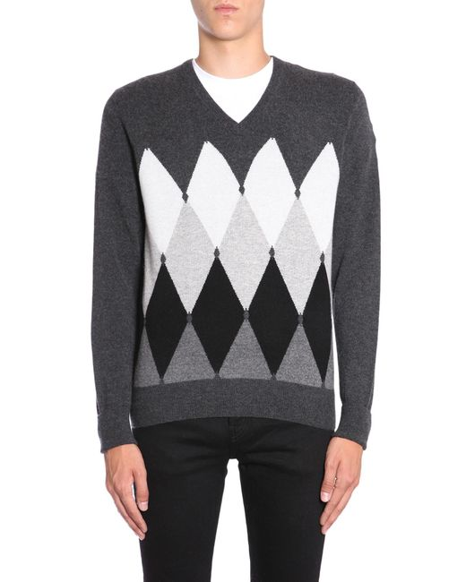 Ballantyne - Gray V Collar Cashmere Sweater With Argyle Intarsia for Men - Lyst