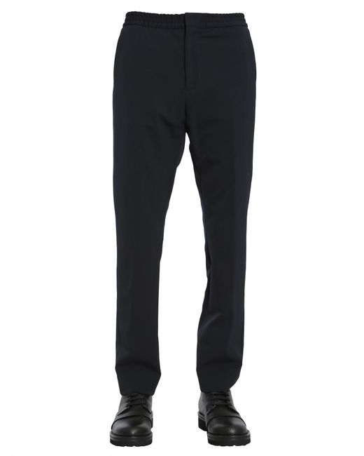 Tommy Hilfiger - Blue Wool Blend Trousers With Elastic Waistband for Men - Lyst