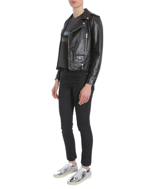 Saint Laurent - Motorcycle Jacket In Shiny Black Vintage Leather - Lyst