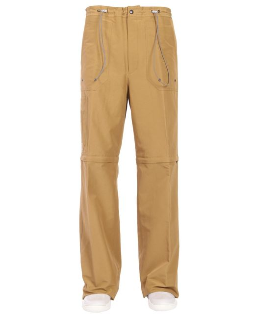 Lanvin - Natural Wide Trousers In Technical Fabric With Elastic Waistband for Men - Lyst