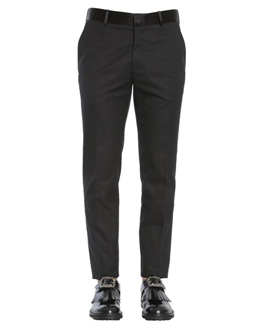 Alexander McQueen - Black Classic Cotton Trousers With Satin Silk Band for Men - Lyst