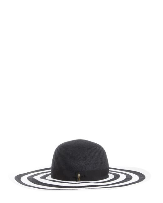 Borsalino - Black Bicolor Wide Brim Braided Hemp Hat - Lyst