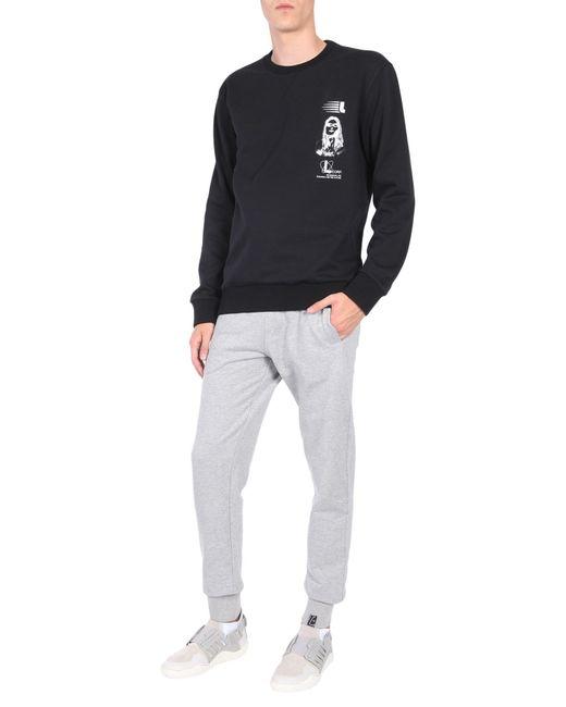 Lanvin - Black Cotton Sweatshirt With Symbol Branding Print for Men - Lyst
