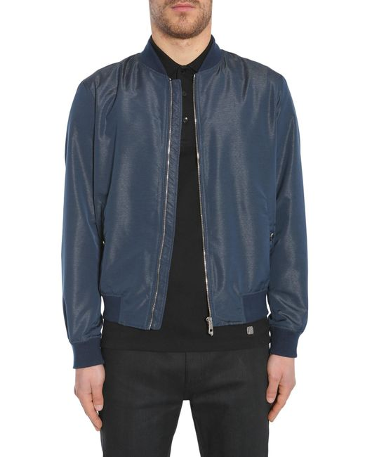 Versace - Blue Zipped Bomber Jacket In Technical Fabric for Men - Lyst