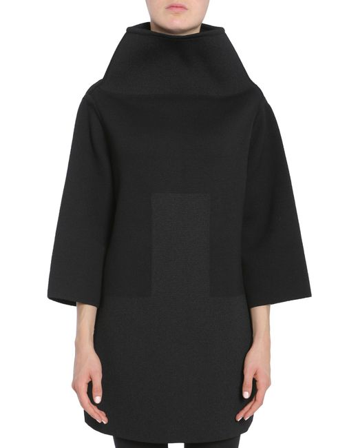 "Rick Owens - Black Maglia ""crater"" In Misto Lana - Lyst"