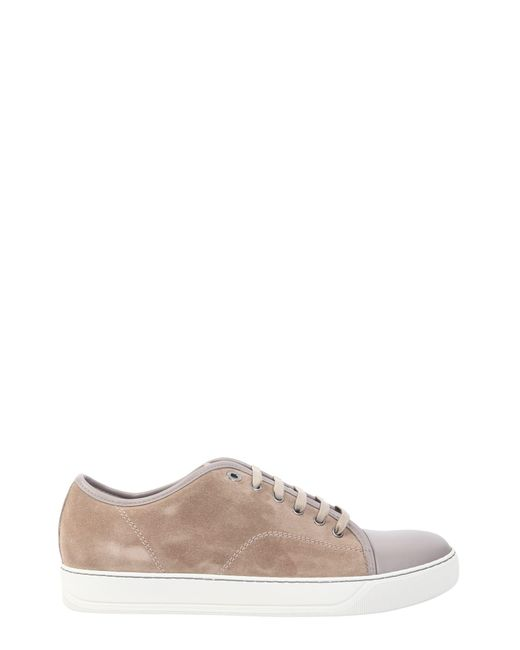 Lanvin - Natural Suede Sneakers With Leather Toe Cap for Men - Lyst