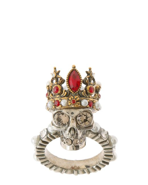 Alexander McQueen | Metallic Queen Skull Brass Ring | Lyst