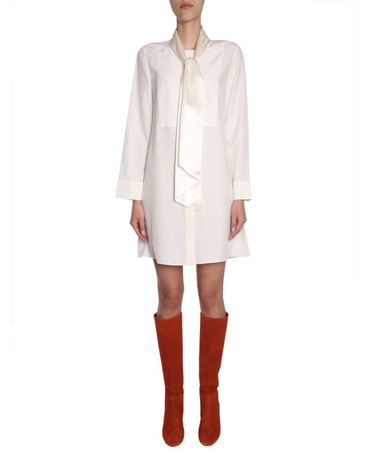 "Tory Burch - White ""sophia"" Silk Dress With Foulard - Lyst"
