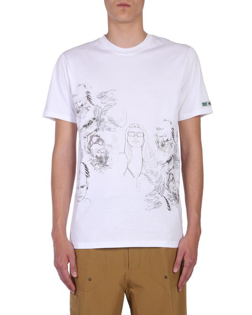 "Lanvin - White ""dragon People"" Printed Cotton T-shirt for Men - Lyst"