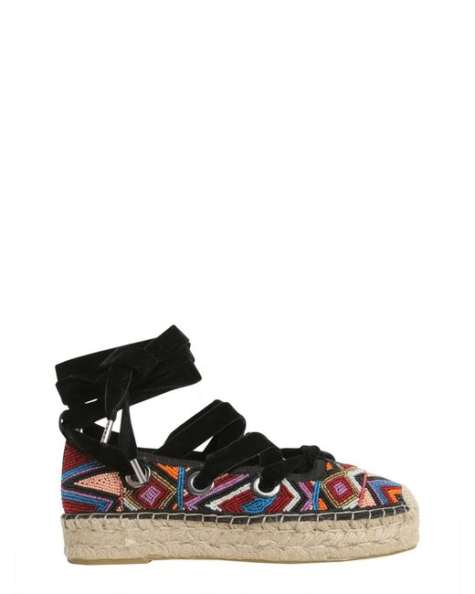 Ash | Black Beaded Embroidered Xenos Espadrilles | Lyst