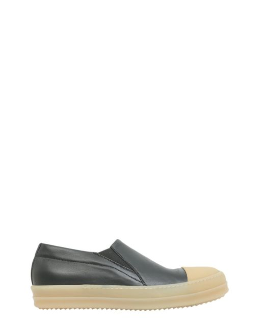 Rick Owens - Black Leather Slip On With Toe Cap for Men - Lyst