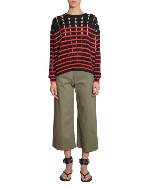 T By Alexander Wang - Blue Striped Crewneck Cotton Pullover With Slits - Lyst