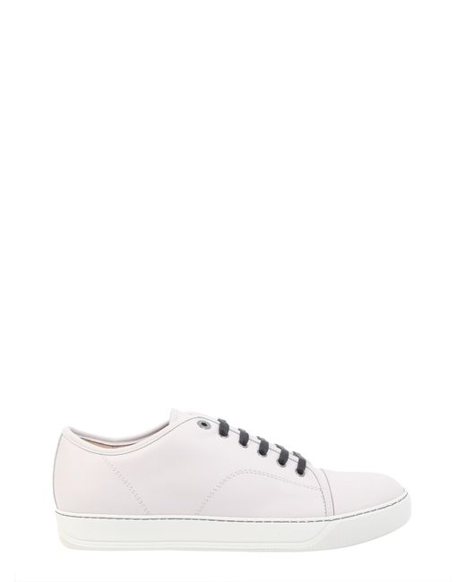 Lanvin - White Leather Sneakers With Toe Cap for Men - Lyst