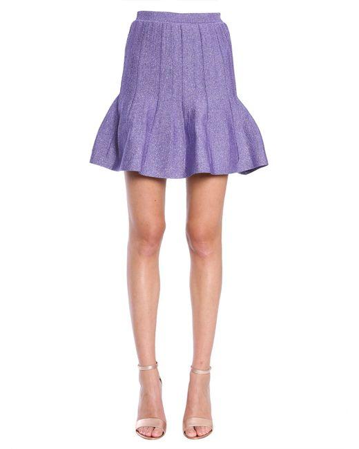 Alberta Ferretti - Purple Lurex Skirt With Flared Hem - Lyst