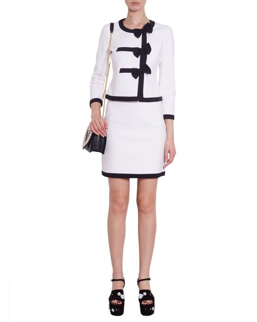 Boutique Moschino | White Cotton Piqué Jacket With Contrasting Colour Trim | Lyst