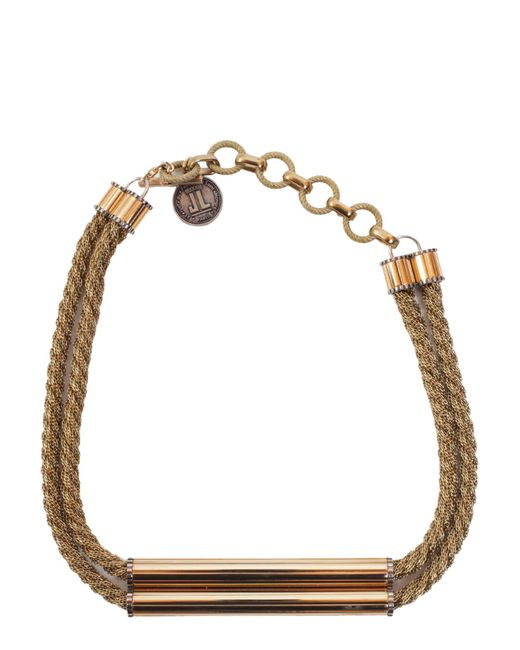 Lanvin - Metallic Brass Necklace With Application - Lyst