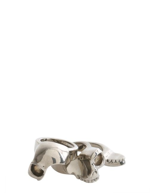 Alexander McQueen   Metallic Divided Skull Brass Ring for Men   Lyst