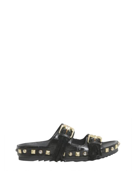 Ash | Black Utah Leather Sandals With Double Buckle | Lyst