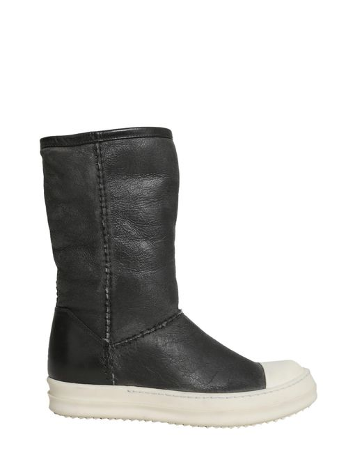 Rick Owens - Black Leather Boots With Shearling Lining - Lyst