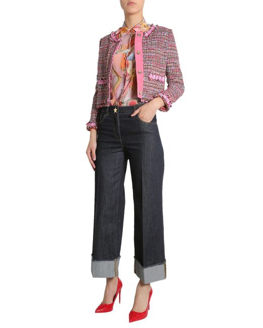 Boutique Moschino - Multicolor Tweed Jacket With Contrast Trim - Lyst