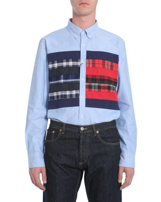 Tommy Hilfiger - Blue Camicia Button Down In Oxford Di Cotone Con Flag Block for Men - Lyst
