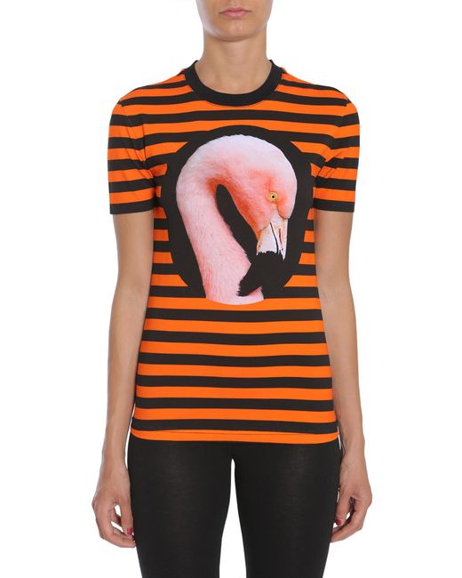 Givenchy - Orange Flamingo Printed Striped T-shirt - Lyst