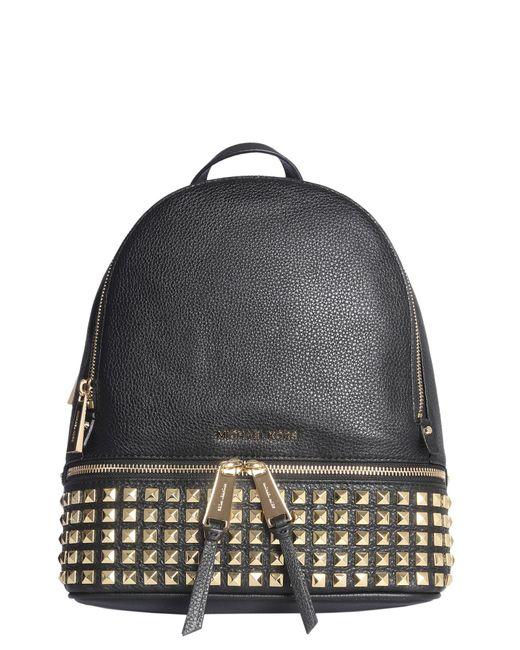 2cb6fd4e7e90 ... MICHAEL Michael Kors - Black Rhea Zip Studded Leather Backpack - Lyst