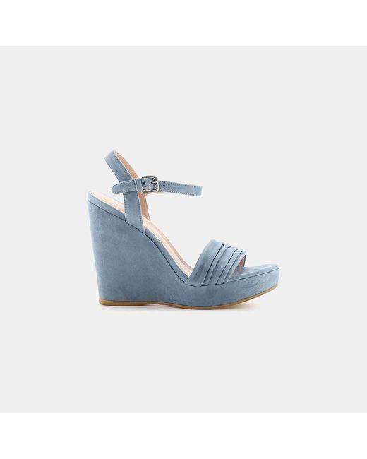 Stuart Weitzman - Blue Sundraped Platform Wedge Sandal - Lyst
