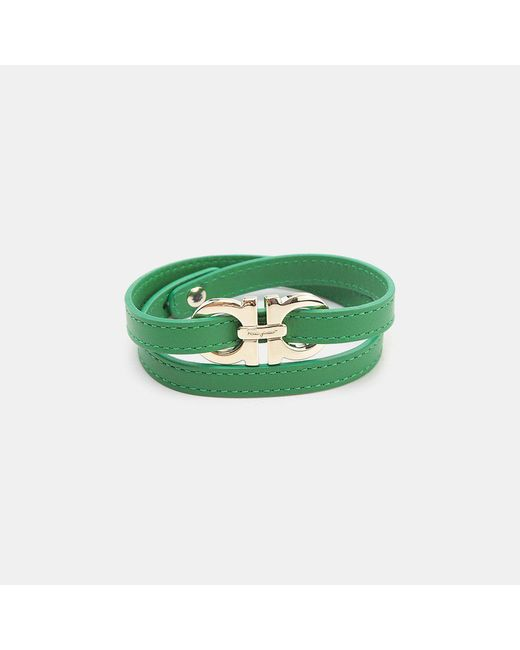 Ferragamo - Green Leather Wrap Bracelet - Lyst