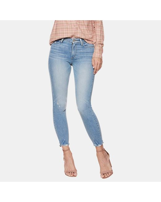 PAIGE - Blue Hoxton Torn Hem Cropped Jean In Atterbury - Lyst