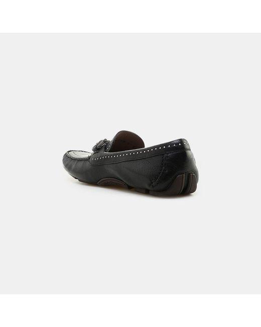 84845c0aba9 ... Ferragamo - Black Parigi Gancini Studs Leather Driving Moccasin for Men  - Lyst ...