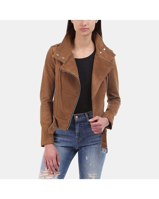 Mackage | Brown Hania Moto Suede Jacket | Lyst