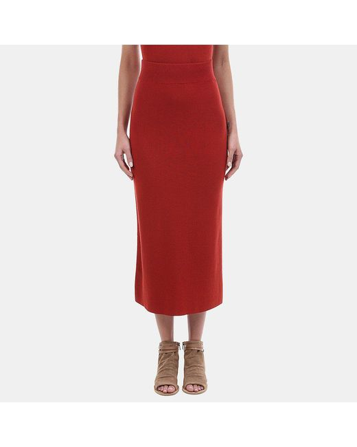 A.L.C. | Red Emmanuelle Cotton Blend Midi Skirt | Lyst