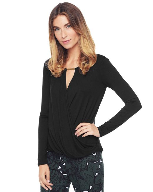 Ella Moss | Black Bella Surplice Top | Lyst