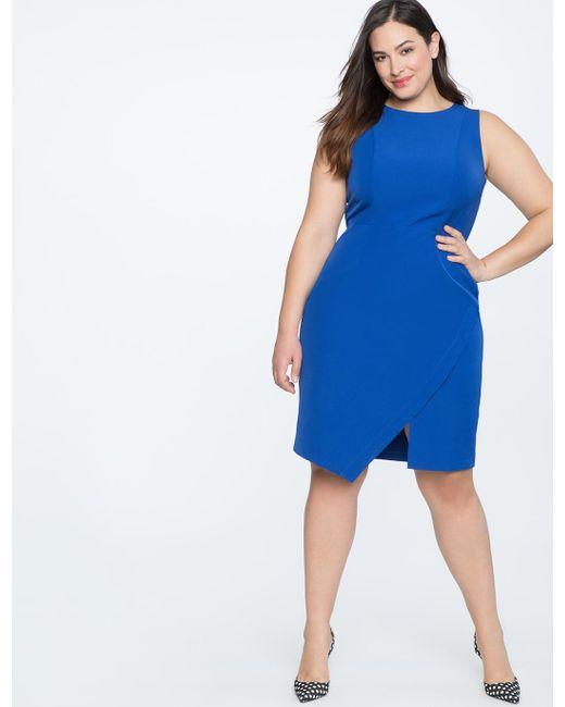 93afe93112e ... Eloquii - Blue Shift Dress With Asym Wrap - Lyst