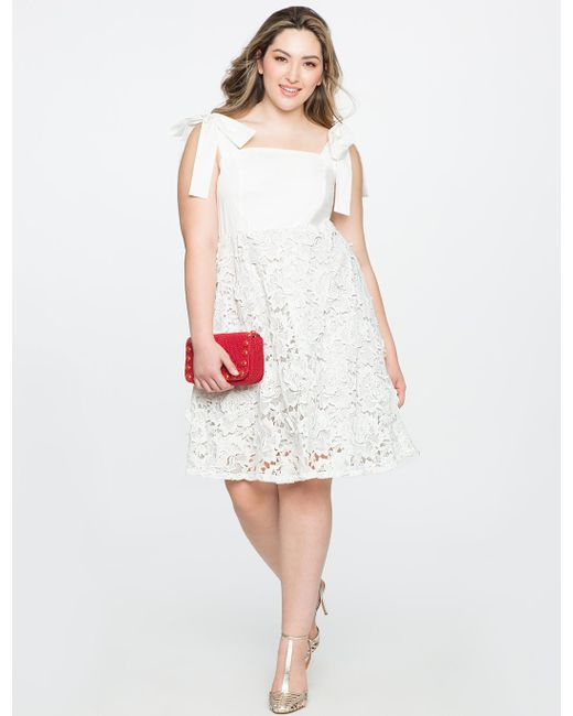 47ea9a02981b Lyst - Eloquii 3d Lace Fit And Flare Dress in White - Save 47%